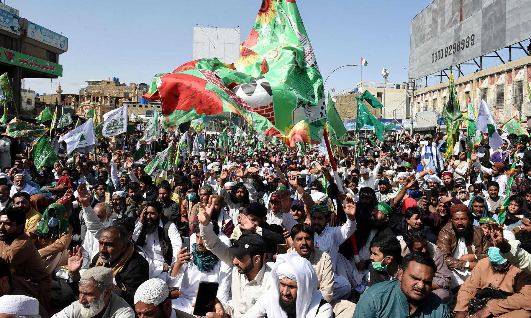 Participants gather during a rally to celebrate Eid-i-Miladun Nabi in Quetta on October 30. — AFP