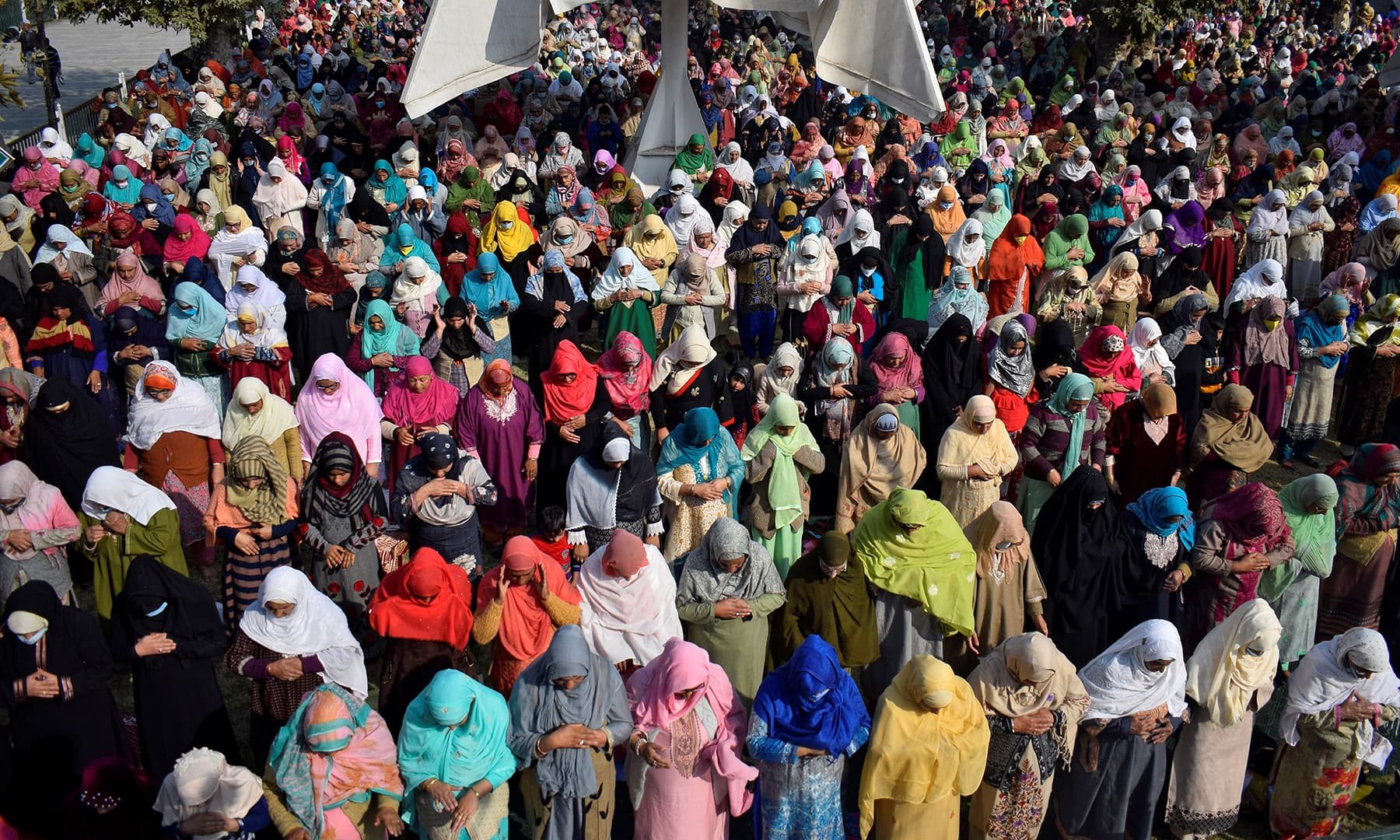 Women offer prayers during Eid-i-Miladun Nabi at Hazratbal Shrine in Srinagar, Indian-occupied Kashmir. — Reuters