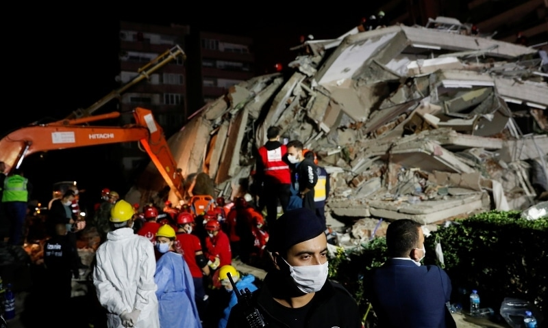 Rescue operations take place on a site after an earthquake struck the Aegean Sea, in the coastal province of Izmir on October 30. —   Reuters