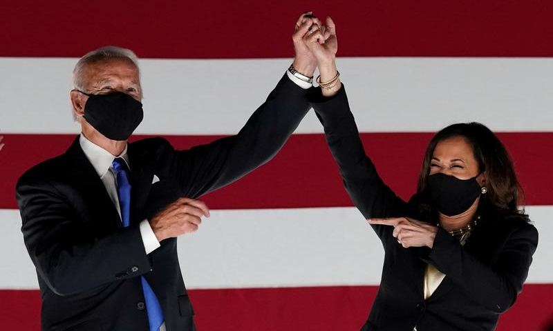 Democratic presidential candidate and former Vice President Joe Biden and US Senator and Democratic candidate for Vice President Kamala Harris celebrate after Joe Biden accepted the 2020 Democratic presidential nomination during the 4th and final night of the 2020 Democratic National Convention in August. — Reuters/File