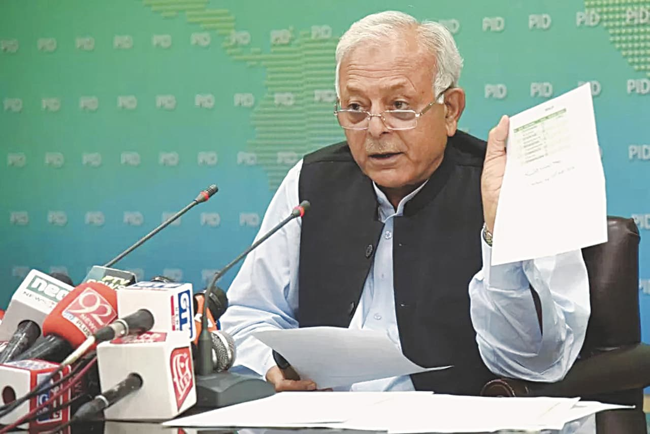 Federal Minister for Aviation, Ghulam Sarwar Khan, speaks to the media