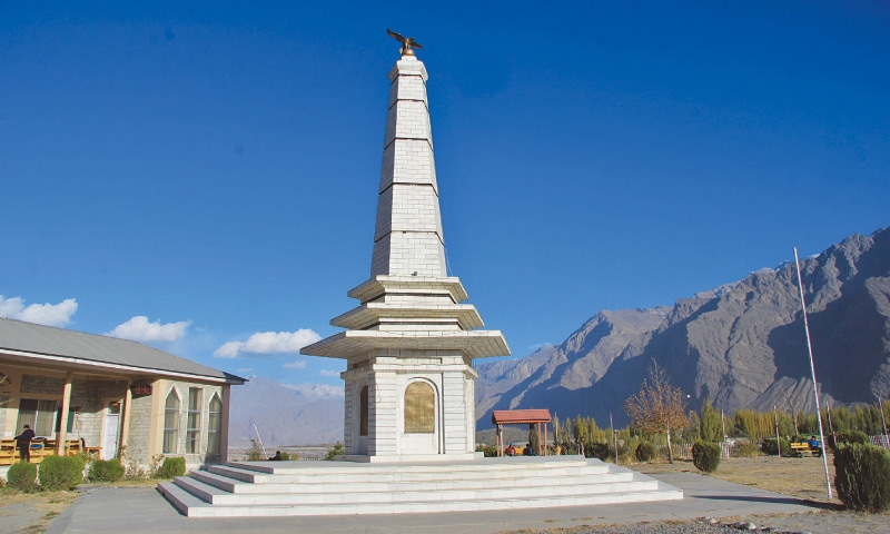 A monument in Skardu to commemorate the martyrs of Baltistan's war of liberation | Hamid Hussain