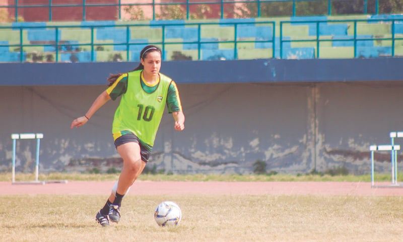 LAHORE: Maria Khan in action during the Pakistan women's football team camp at the Punjab Stadium. — PFF