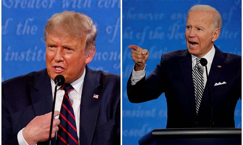 A combination picture shows US President Donald Trump and Democratic presidential nominee Joe Biden speaking during the first 2020 presidential campaign debate, held on the campus of the Cleveland Clinic at Case Western Reserve University in Cleveland, Ohio, on Sept 29. — Reuters