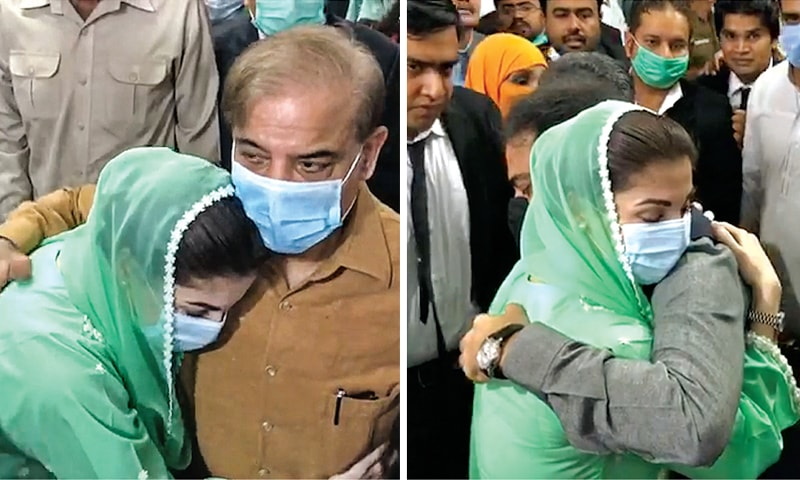 Maryam Nawaz hugs Shehbaz Sharif and Hamza Shehbaz on the accountability court premises. The government had not allowed the PML-N  vice president to meet her uncle and cousin in jail. — White Star/M Arif