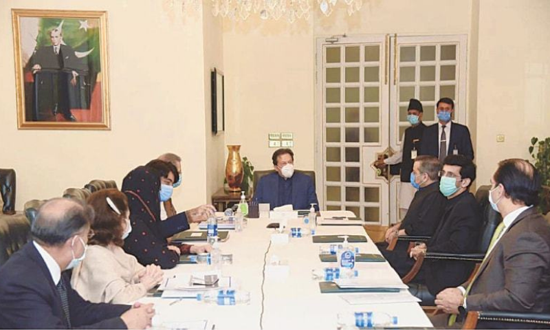 ISLAMABAD: Prime Minister Imran Khan chairing the meeting on national curriculum on Monday. — PPI