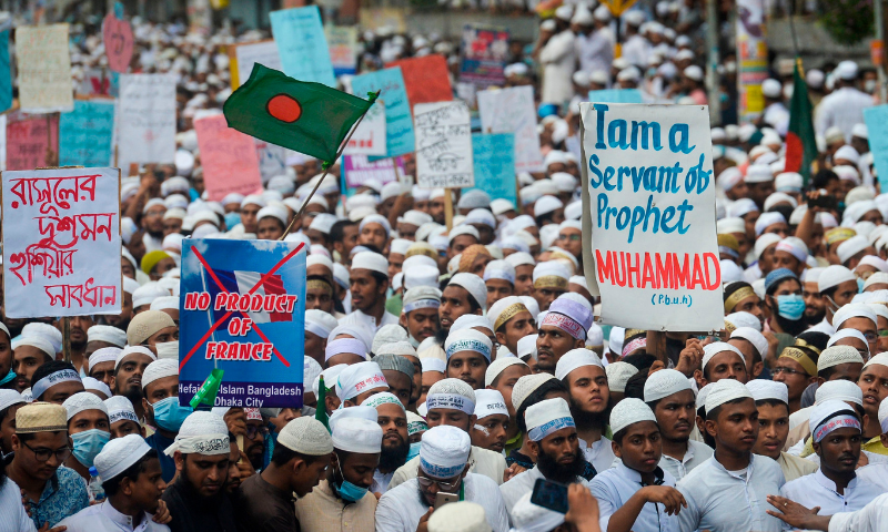 Protesters take part in an anti-France demonstration in Dhaka on November 2. — AFP