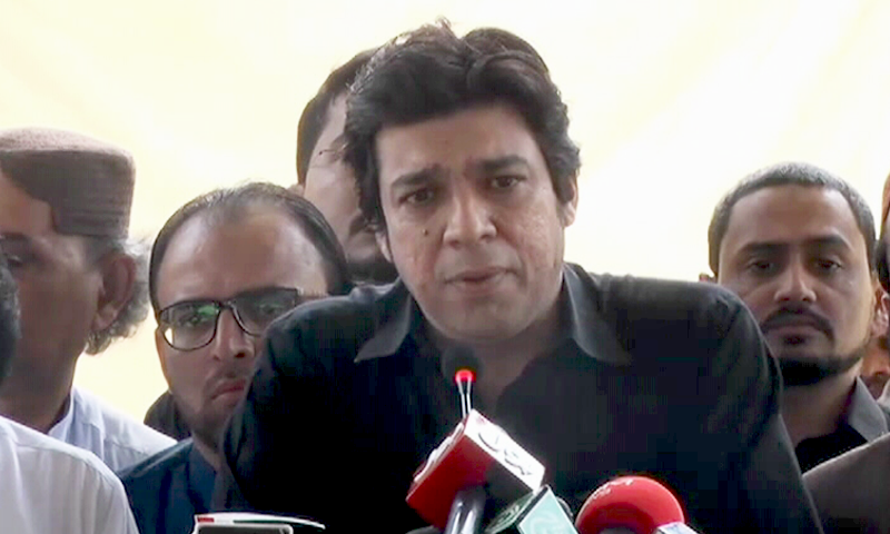 In this May 2019 file photo, Federal Minister for Water Resources Faisal Vawda addresses the media in Karachi. — DawnNewsTV