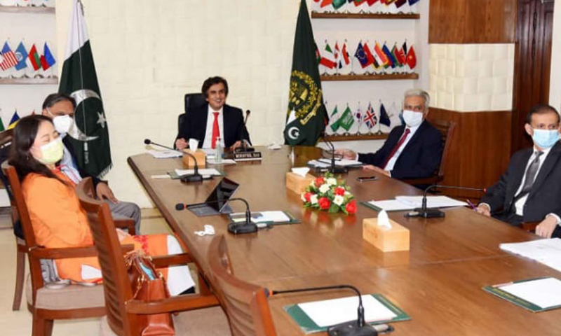 Federal Minister for Economic Affairs Makhdum Khusro Bakhtyar holds a virtual meeting with Asian Development Bank (ADB) Vice President Shixin Chen. — PID