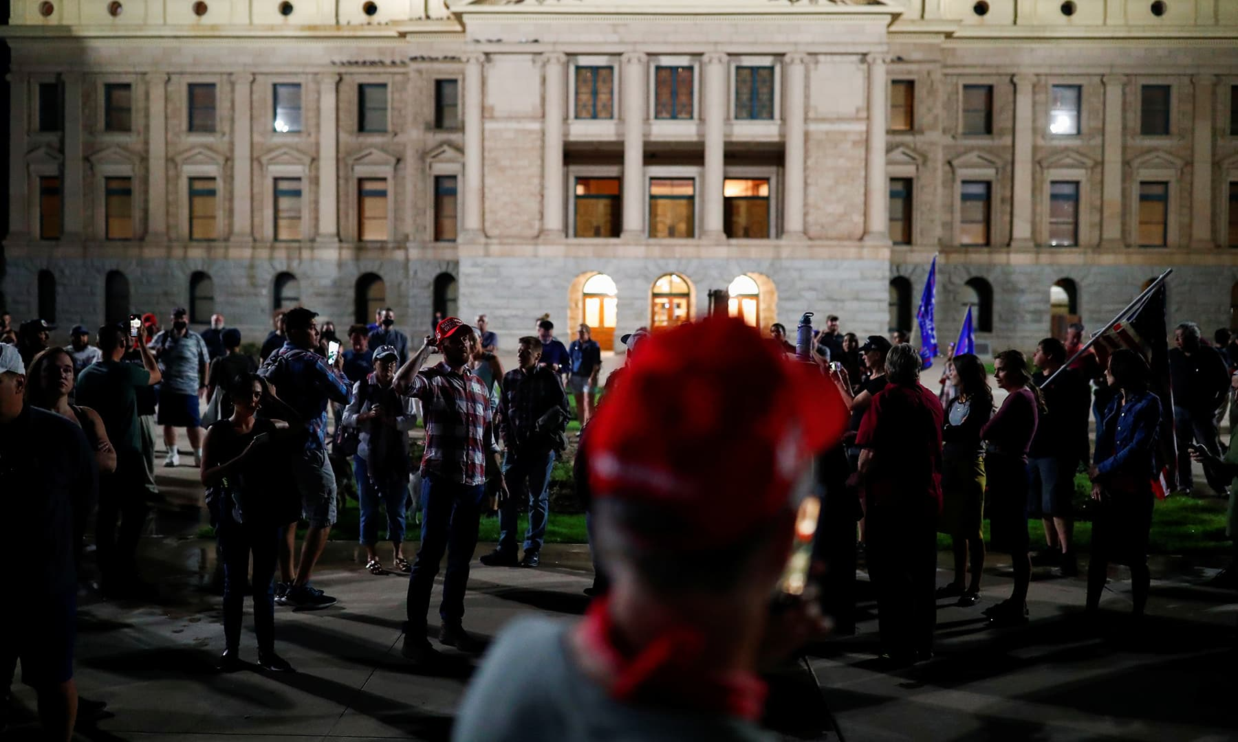 Supporters of US President Donald Trump gather in front of the Arizona State Capitol Building to protest about the early results of the 2020 presidential election. — Reuters