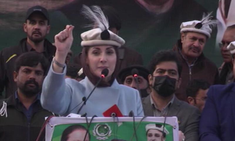 PML-N Vice President Maryam Nawaz addresses the media in Skardu. — DawnNewsTV