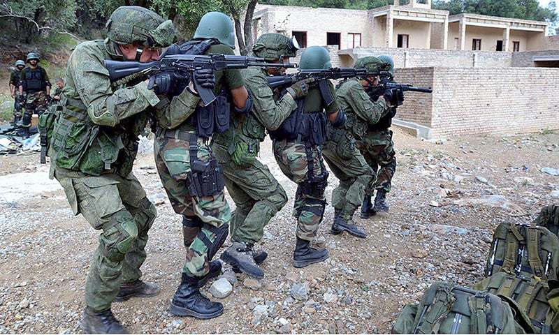 In this file photo, Pakistani and Russian troops participate in a joint army exercise.— APP/File