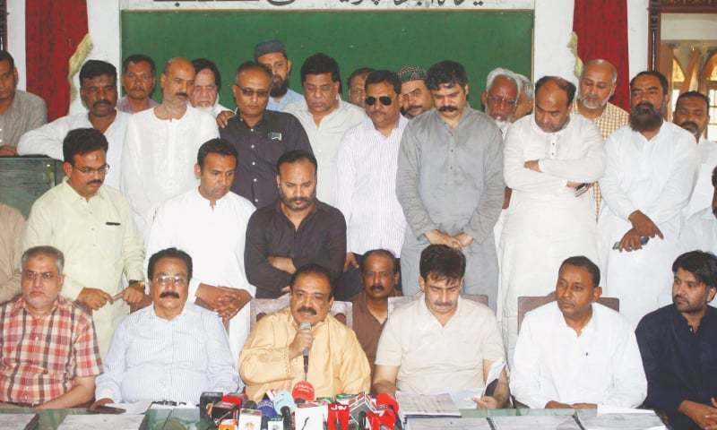 In this file photo, MQM-P leader Kanwar Naveed Jamil speaks at a press conference in Hyderabad. —Online/File