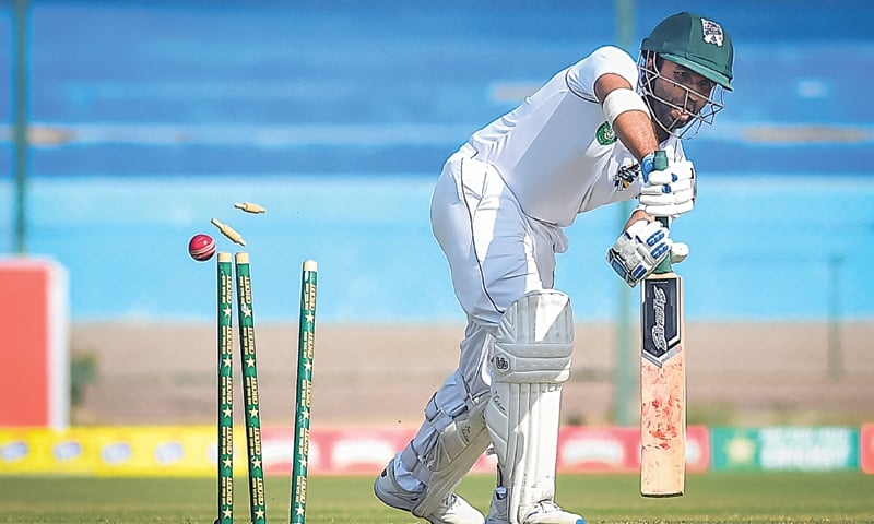 BALOCHISTAN opener Sami Aslam is comprehensively undone by Central Punjab paceman Waqas Masood at the National Stadium on Friday. — Courtesy PCB