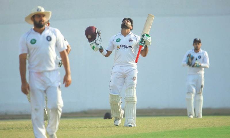 SOUTHERN Punjab's batting hero Hussain Talat celebrates after reaching three figures against Khyber Pakhtunkhwa at the NBP Sports Complex on Saturday.—Courtesy PCB