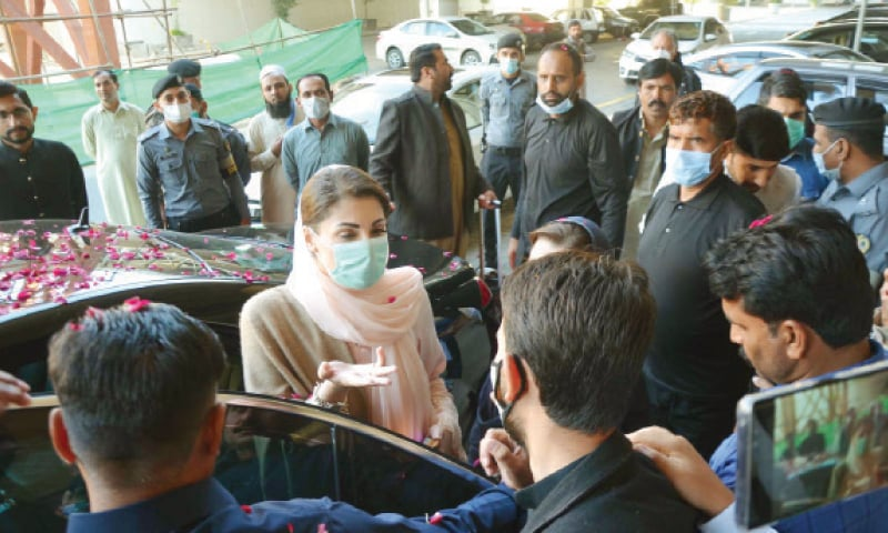 PML-N Vice President Maryam Nawaz talks to mediapersons at the Islamabad airport on Saturday. — INP