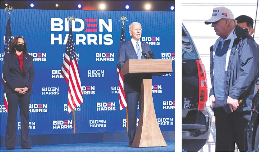 Wilmington: Democrat Joe Biden speaks about election results next to vice presidential nominee Kamala Harris on Friday night. (Right) US President Donald Trump departs the White House for Virginia on Saturday.—Reuters