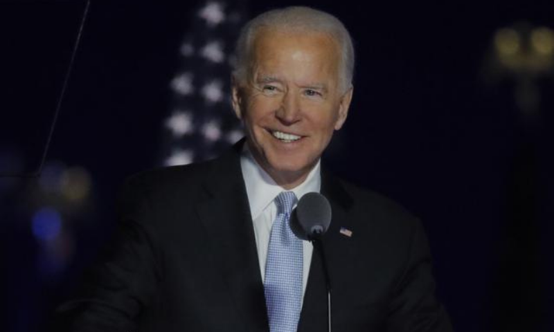 Democratic 2020 US presidential nominee Joe Biden speaks at his election rally, after the media announced that Biden has won the 2020 US presidential election over President Donald Trump, in Wilmington, Delaware, US on Nov 7. — Reuters