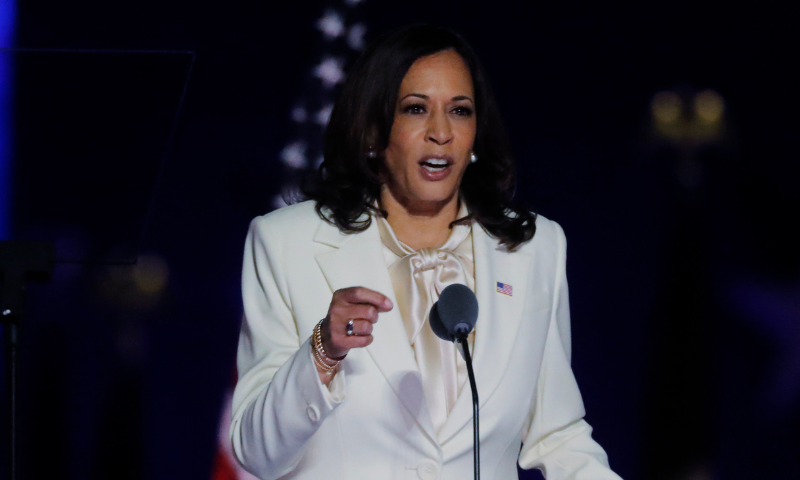 Democratic 2020 US vice presidential nominee Kamala Harris speaks at their election rally, after the news media announced that Democratic 2020 US presidential nominee Joe Biden has won the 2020 US presidential election. — Reuters