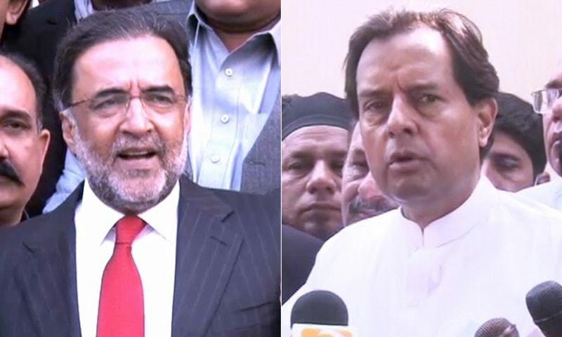 PPP leader Qamar Zaman Kaira (L) and PML-N leader Retired captain Mohammad Safdar (R). — DawnNewsTV/File