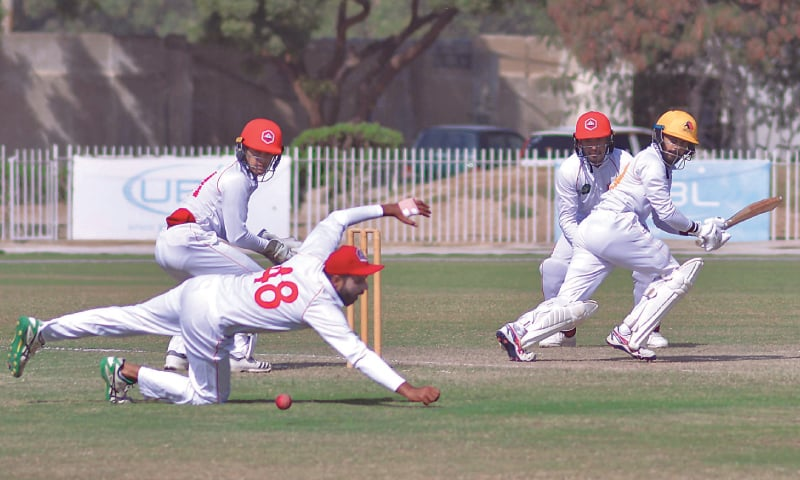 SINDH'S Saud Shakeel glides the ball past leg slip during his epic knock of 174 against Northern at the UBL Sports Complex on Monday.—Courtesy PCB