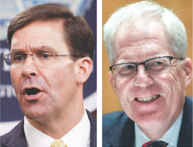 Mark Esper, the outgoing defence secretary (left) and Christopher Miller, his replacement