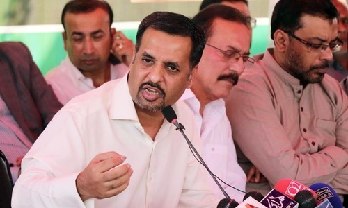 Mustafa Kamal addresses a press conference in Karachi. — Online/File