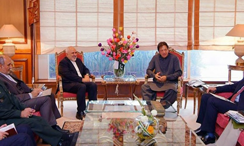 Iranian Foreign Minister Javad Zarif called on Prime Minister Imran Khan on Wednesday. — Photo courtesy GoP Twitter
