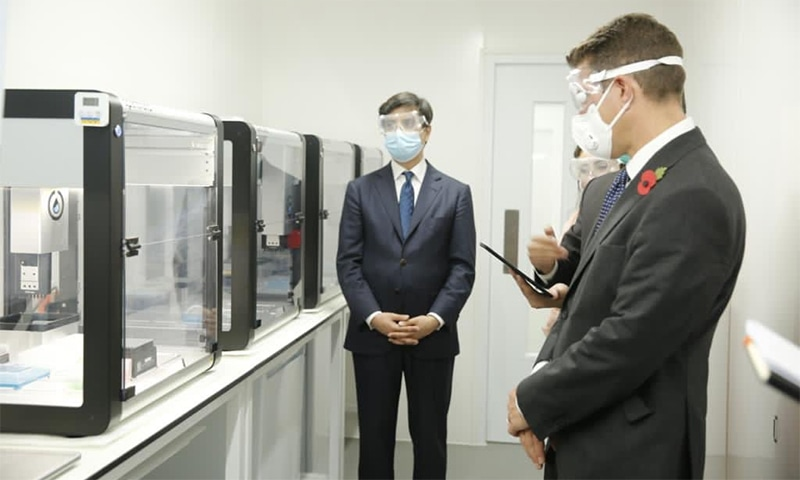 British High Commissioner Christian Turner observes Future Labs facility in Islamabad at the lab's inauguration. — Photo courtesy UK HC's Twitter