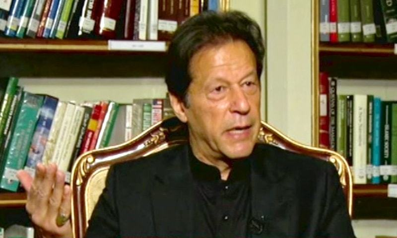 Imran Khan gestures during an interview to GNN. — DawnNewsTV