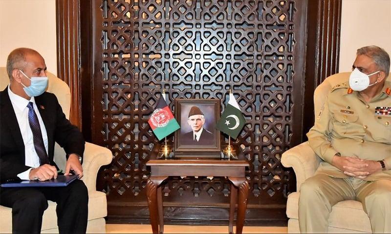 Afghanistan's new ambassador to Pakistan Najibullah Alikhil called on Chief of the Army Staff Gen Qamar Bajwa on Thursday. — Photo courtesy ISPR