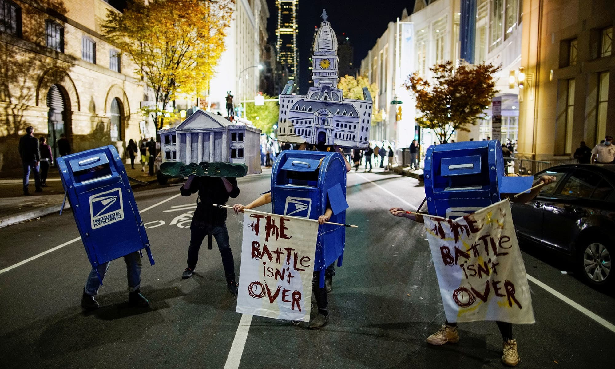 Activists dressed as the White House, Philadelphia City Hall and the United States Postal Service (USPS) mailboxes stand on a street two days after the 2020 US presidential election in Philadelphia, Pennsylvania, US on November 5, 2020. — Reuters/File