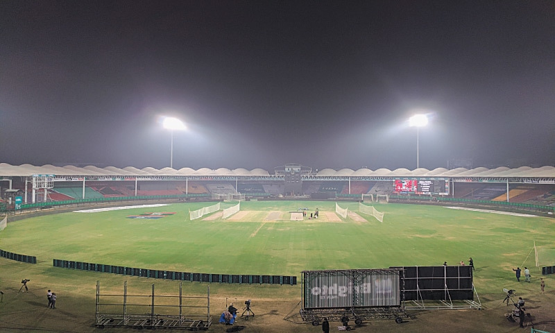KARACHI: A view of the National Stadium under floodlights on Friday ahead of the Pakistan Super League V playoffs starting on Saturday.