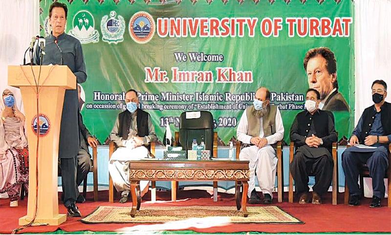 PRIME Minister Imran Khan addressing students at University of Turbat. — INP