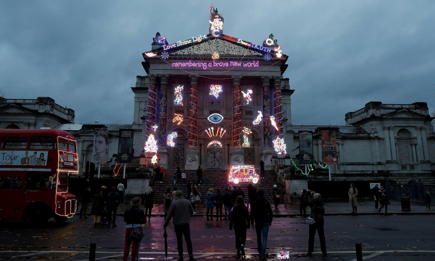 The front of the Tate Britain art gallery is illuminated with a light installation by artist Chila Kumari Burman to celebrate the festival of Diwali in London, Britain, November 14. — Reuters