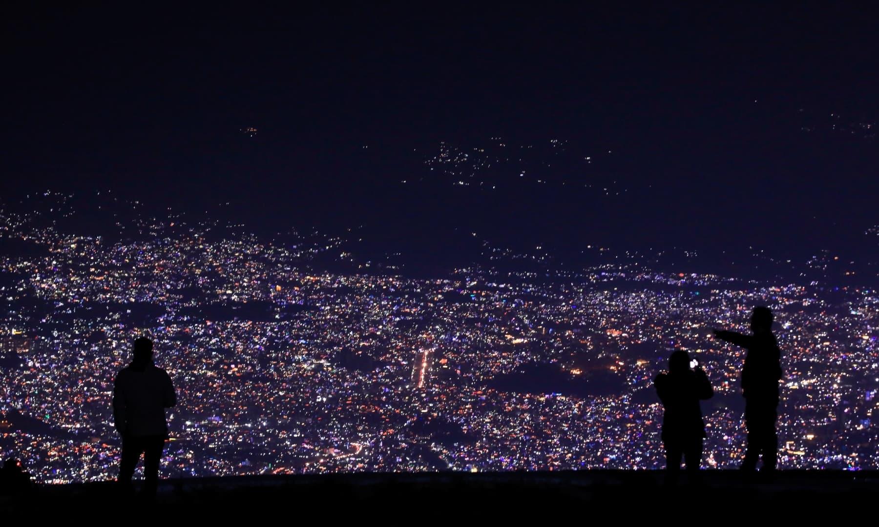 Lights illuminate Kathmandu valley during the Tihar festival, also called Diwali, in Kathmandu, Nepal, November 14. — Reuters