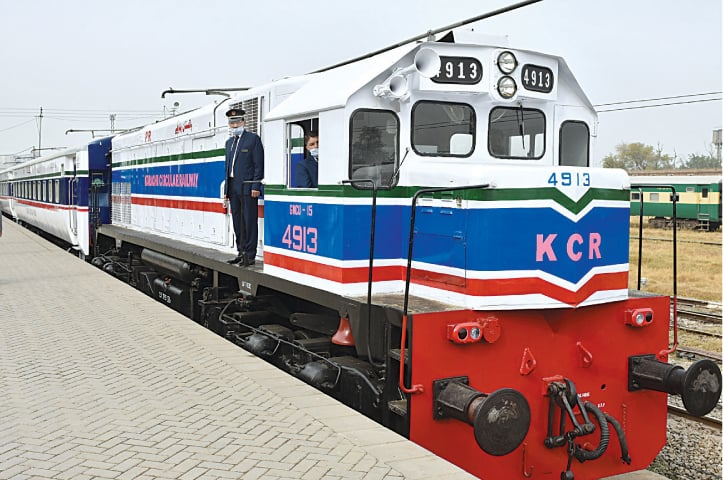 A train that will be run on the Karachi Circular Railway is ready to depart for the port city from Rawalpindi Railway Station on Saturday.—Tanveer Shahzad/ White Star