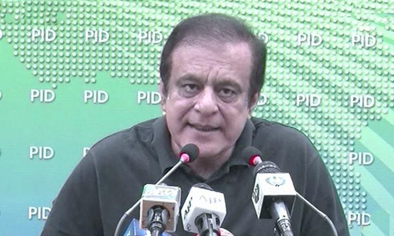 Information Minister Shibli Faraz addresses a press conference in Islamabad. — DawnNewsTV/File