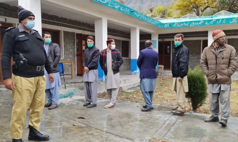 Polling begins in Ghizer with strict implementation of standard operating procedures to curb the spread of Covid-19. — APP