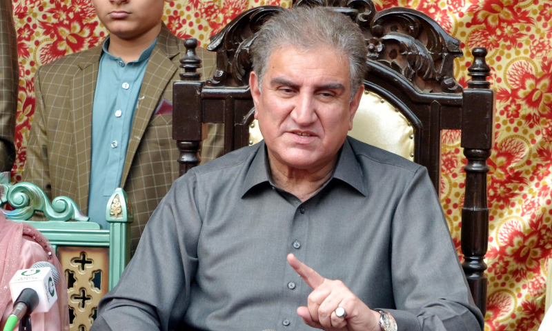 Foreign Minister Shah Mehmood Qureshi addresses a press conference in Multan on Sunday. — PID