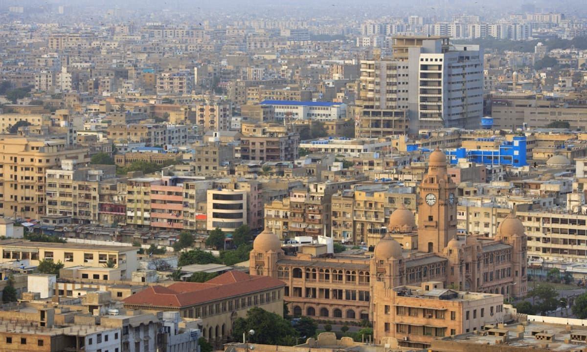 Karachi Municipal Corporation Building situated at M.A Jinnah Road and a sight of Downtown Karachi. — Photo by Aliraza Khatri/File