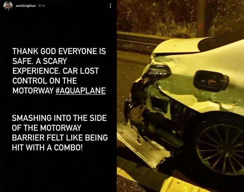 باکسر نے حادثے کی اطلاع انسٹاگرام اسٹوری کے ذریعے دی—اسکرین شاٹ
