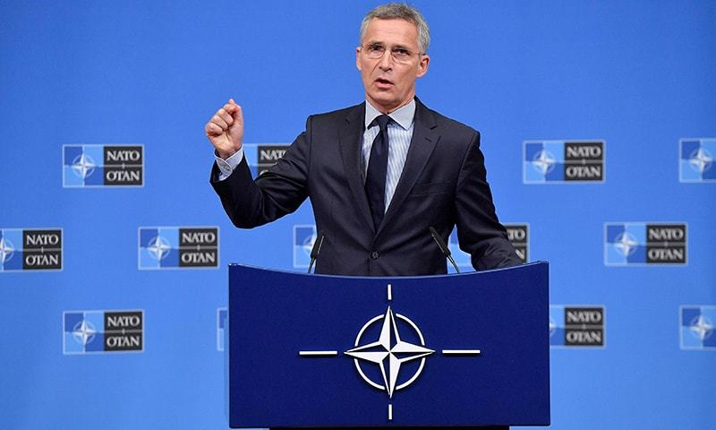 Nato Secretary General Jens Stoltenberg addresses a press conference ahead of a Nato defence ministerial meeting at Nato headquarters in Brussels on October 2, 2018. ─ AFP/File