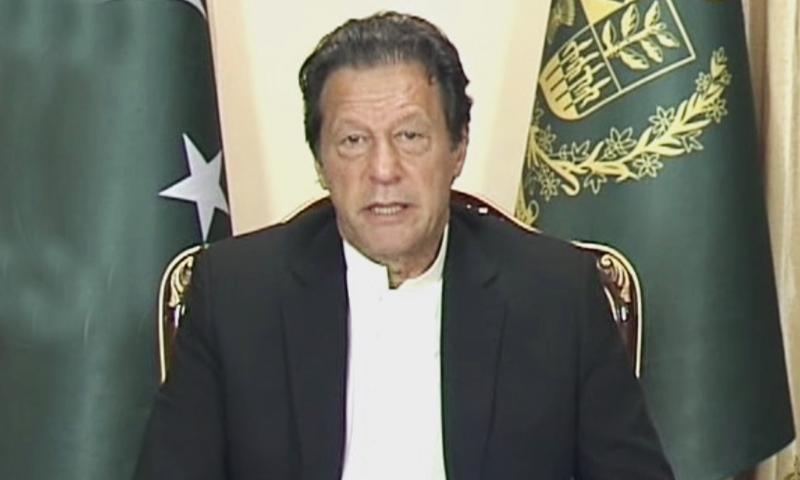 Prime Minister Imran Khan speaks to the media in Islamabad. — DawnNewsTV