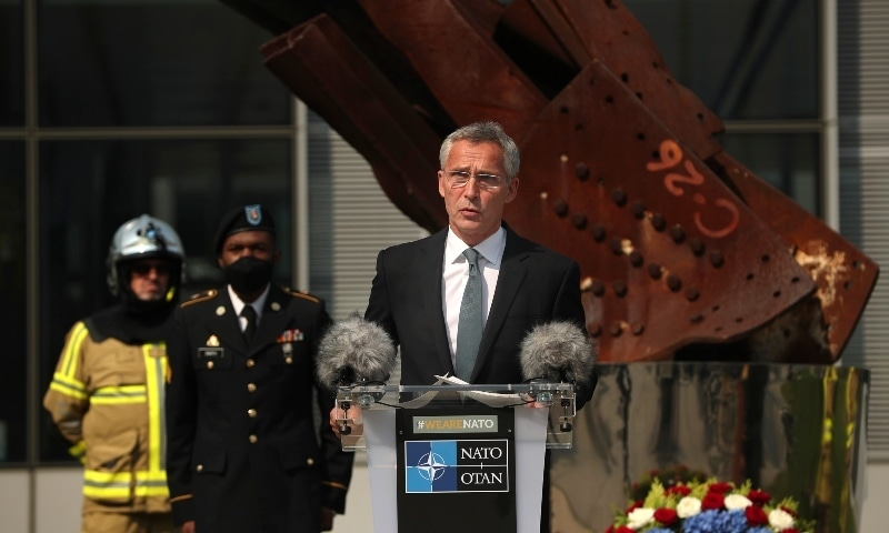 In this file photo, Nato Secretary General Jens Stoltenberg speaks during a ceremony marking the 19th anniversary of the Sept. 11 attacks in Brussels. — AP