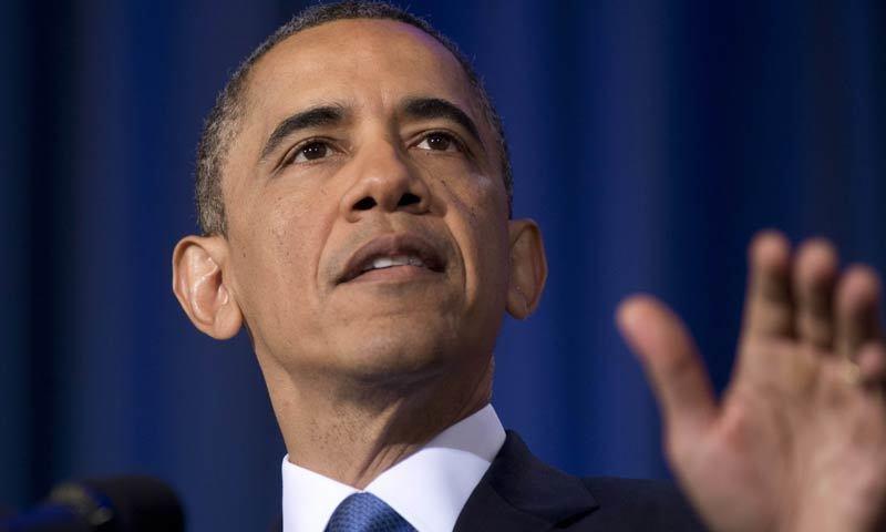 باراک اوباما کی پرامس لینڈ نامی کتاب منگل کے روز جاری ہوئی—تصویر: اے ایف پی