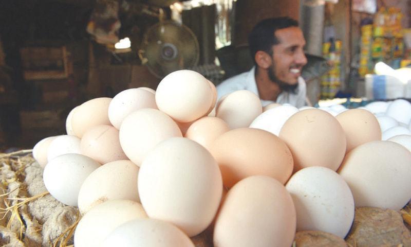 انڈوں کی قیمتیں بھی 170 سے 195 روپے درجن تک پہنچ گئی ہیں---فوٹو: ڈان اخبار