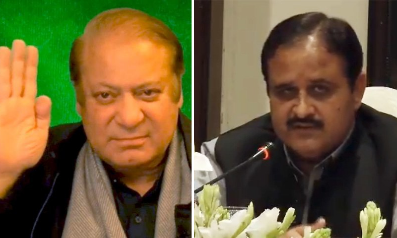 This combination file photo shows PML-N supremo Nawaz Sharif and Punjab Chief Minister Usman Buzdar. — DawnNewsTV/File