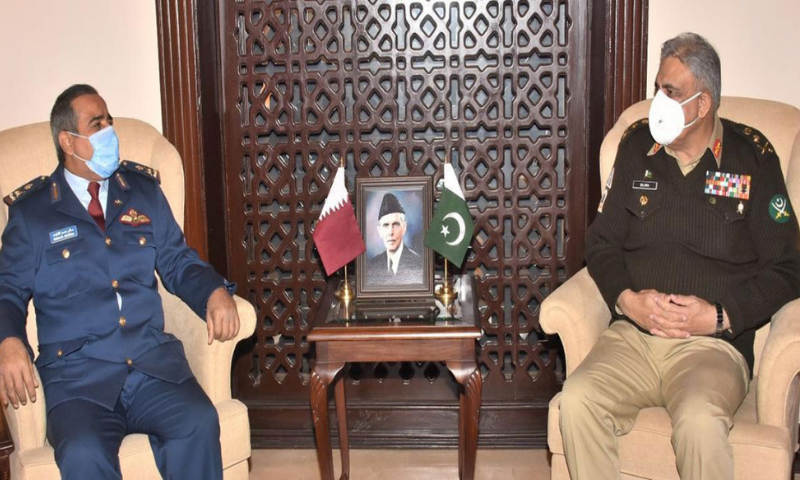 Commander of Qatar Emiri Air Force Maj Gen (Pilot) Salem Hamad Eqail Al-Nabet meets Chief of the Army Staff (COAS) Gen Qamar Javed Bajwa on Wednesday. — Photo courtesy Radio Pak