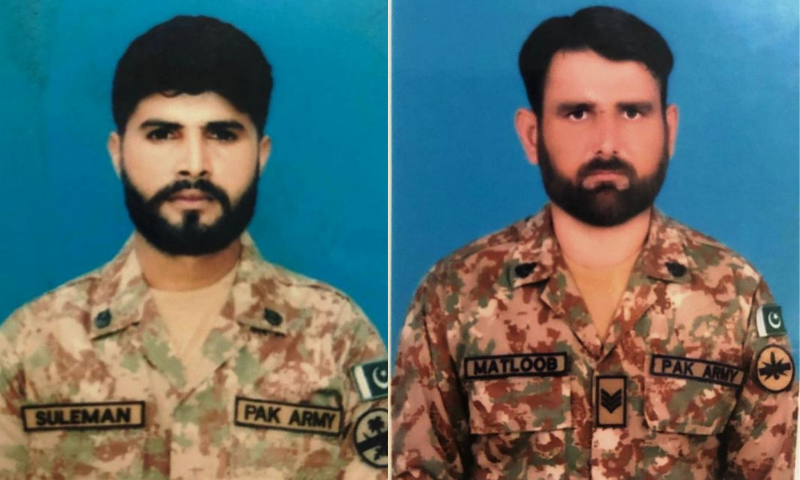 This combination photo shows Sepoy Suleman Shaukat (L) and Havaldar Matloob Alam (R). — Photo courtesy ISPR